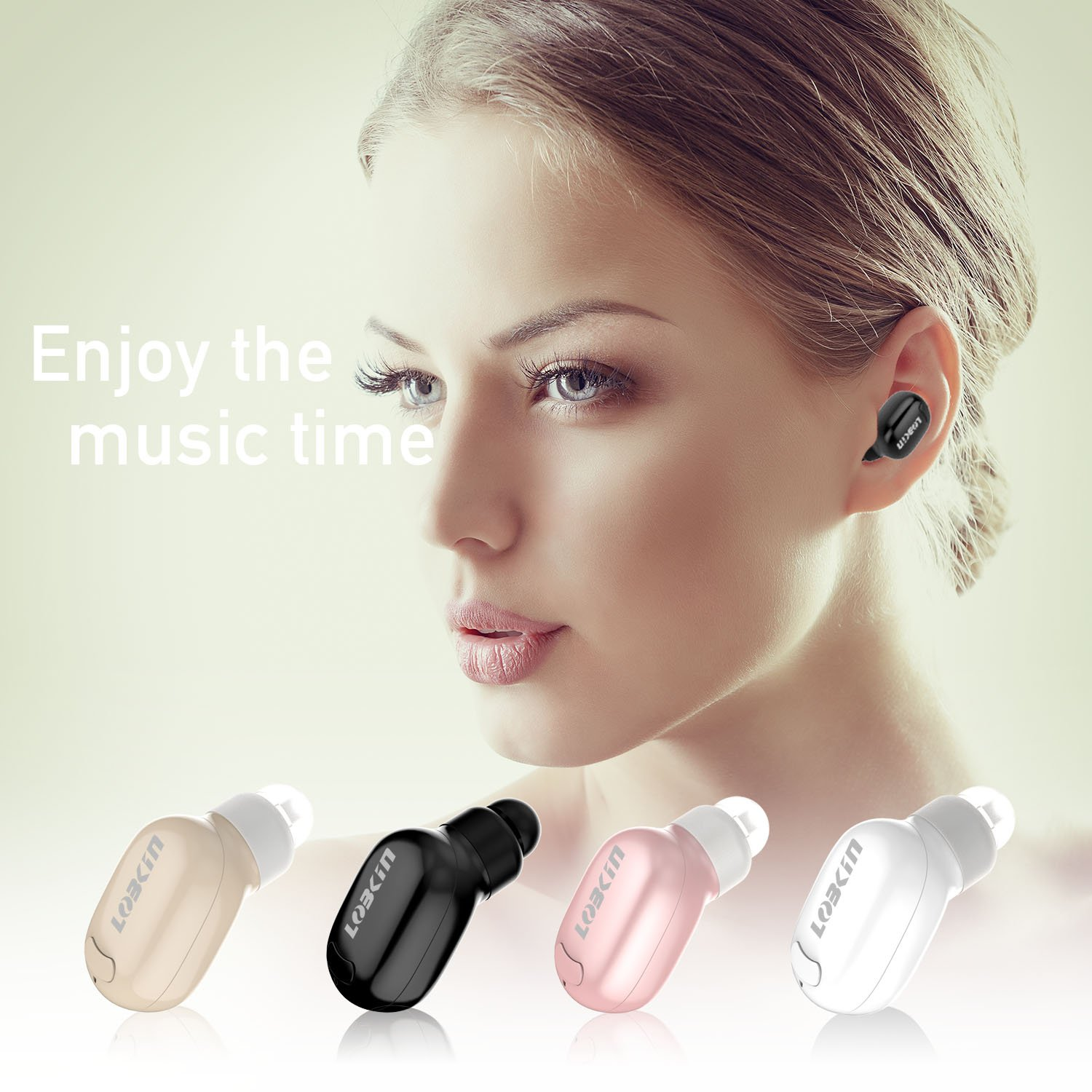 Bluetooth Headphones, Lobkin Smallest Wireless Headsets with Mic,6 Hour Playtime for Running - Black