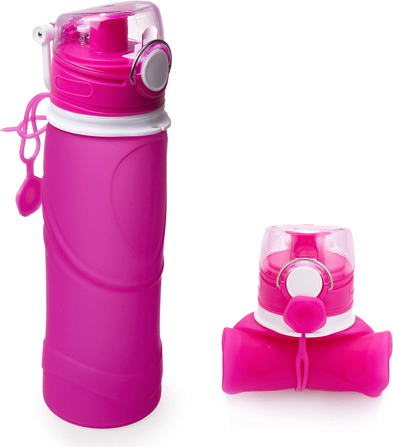 K-vong Collapsible Water Bottle - BPA Free, 22 oz-leak proof-sport-outdoor-silicone folding water bottle Pink