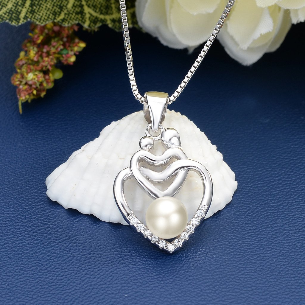 EVER FAITH 925 Sterling Silver CZ Freshwater Cultured Pearl Mothers Gifts Mom and Child Open Heart Pendant Necklace Clear