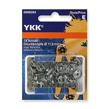 18 Stück YKK Annäh Druckknöpfe 11mm Silber