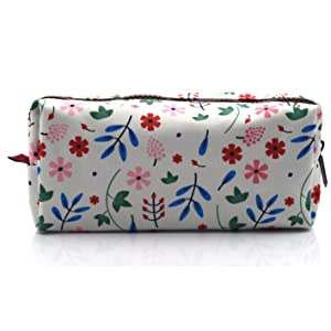 LParkin Floral Large Capacity Canvas Pencil Case Pen Bag Pouch Stationary Case Makeup Cosmetic Bag (White)