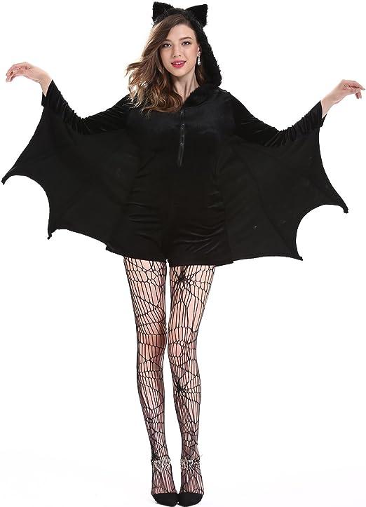Bweele Disfraz de murciélago de Halloween para Mujer Cape Black ...