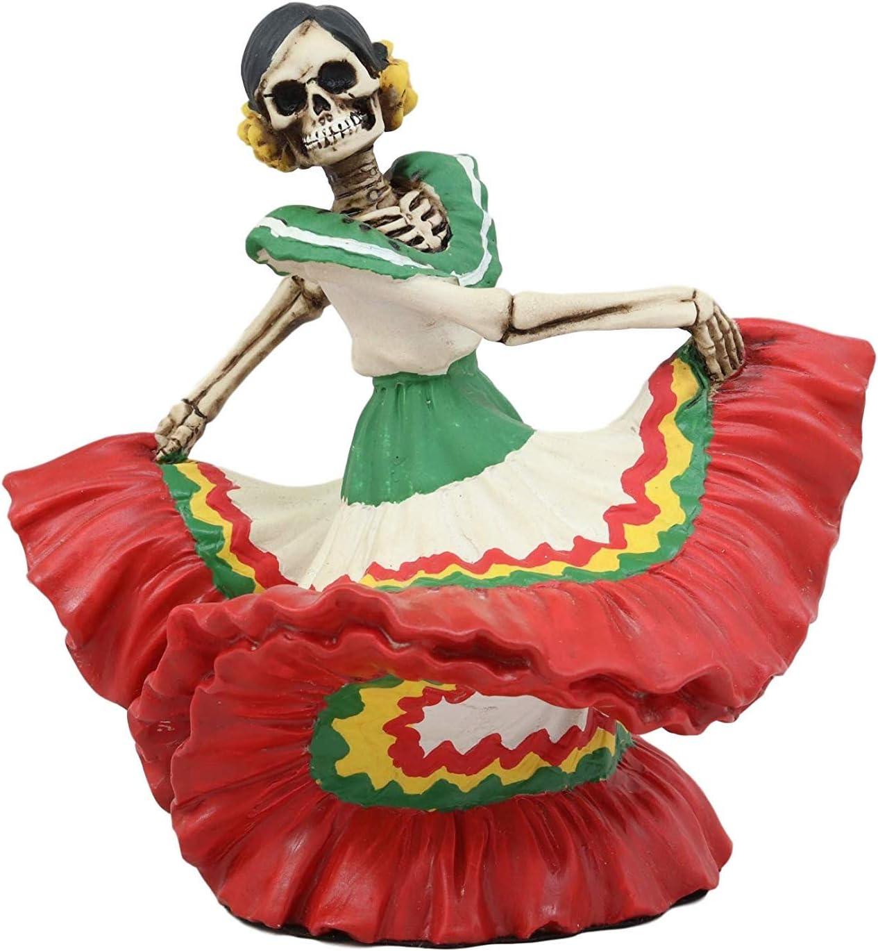 """Ebros Dia De Los Muertos Danza De DAMA Red Sugar Skull Lady Dancer Statue 5.25"""" Tall Day of The Dead Vivas Calacas Figurine"""