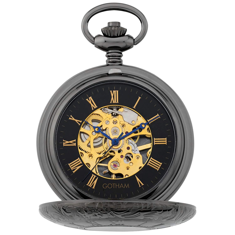 Gotham Men's Gun-Tone 17 Jewel Mechanical Double Half Hunter Pocket Watch # GWC14040BBK