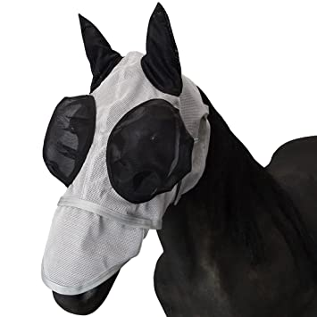 Durable & Detachable Nose Mesh Full Face UV Fly Mask//Hood//Veil Fly Mask with Ears and Nose Extension UMIWE Horse Fly Mask, Fine Mesh Newest Upgrade