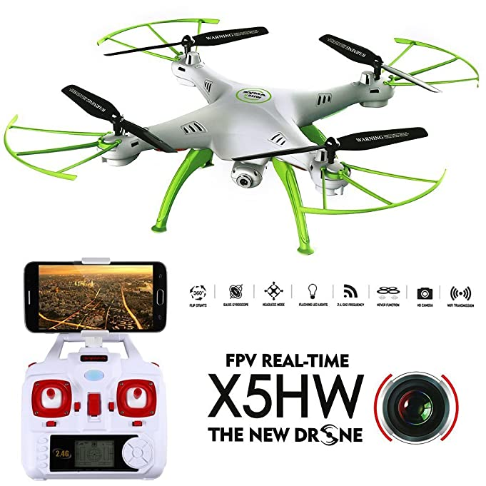 FPV Drone IOS & Android Aerial Quadcopter Syma X5HW, Dayan Anser Drone with Camera Automatic Air Pressure High 2.4Ghz 6CH 6Axis, 0.3MP HD Camera 3D Flips Function Headless Mode RTF RC (White)