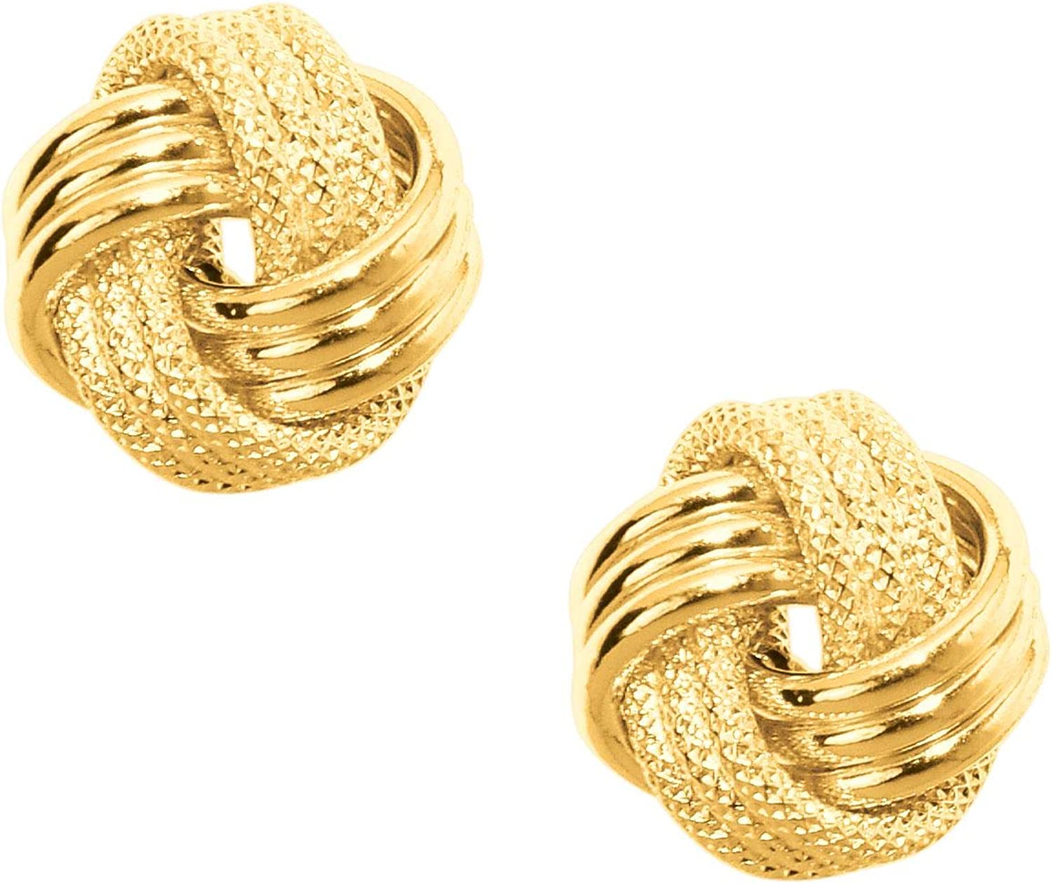10K Yellow Gold Shiny Textured 3 Row Small Love Knot Earrings by IcedTime