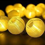 Farolillos Solares Exterior de Luces de Cuerda, ALED LIGHT 6m 30 LED Blanco Cálido Impermeable Guirnalda Luces Exterior…