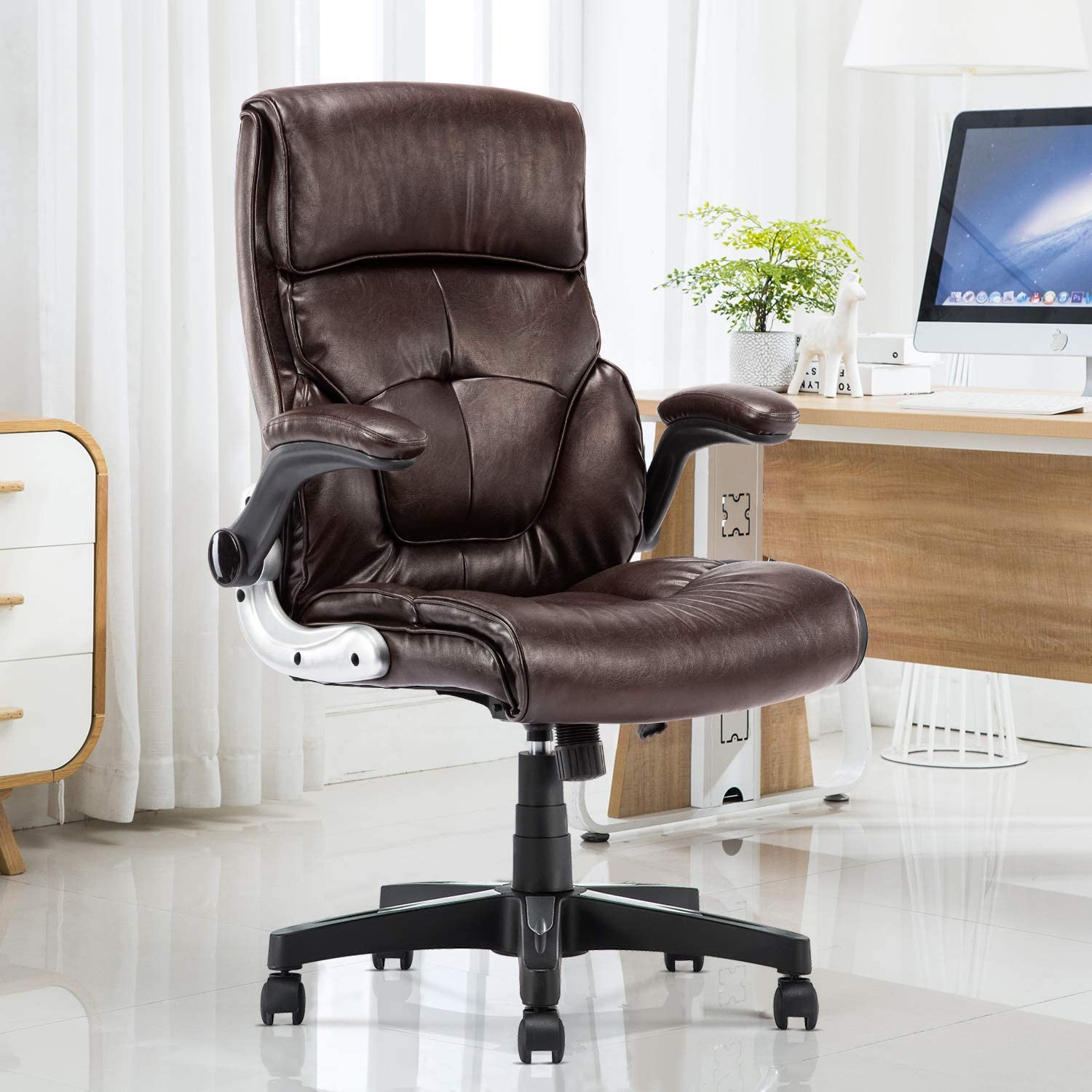 High Back Leather Office Chair - Adjustable Tilt Angle and Flip-up Arms  Executive Computer Desk Chair, Thick Padding for Comfort and Ergonomic  Design