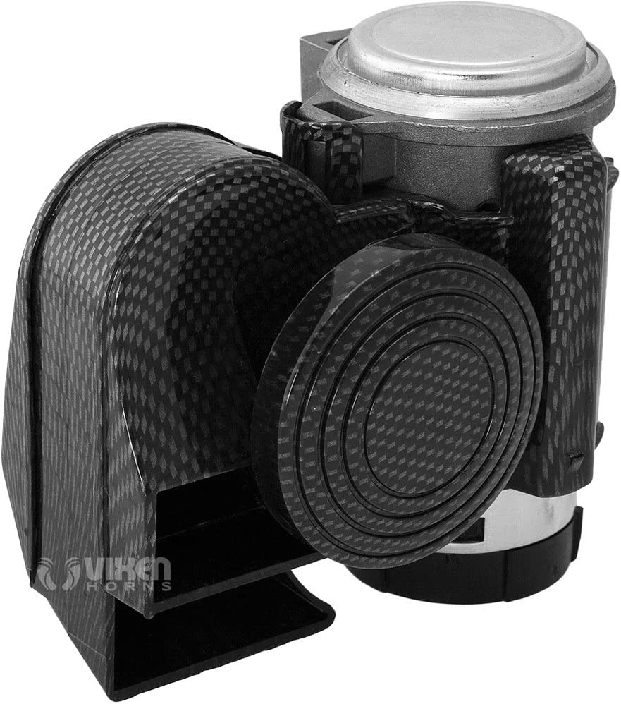 Vixen Horns Loud Powerful Dual-Tone Compact Electric Air Horn for Motorcycles//Cars//Boats//ATV Carbon Fiber Black 12V VXH1608CB