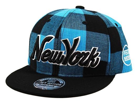 a289bc86fef130 Itzu Youth Kids Snapback Baseball Cap New York NY Lumberjack Check Hat in  Blue: Amazon.co.uk: Clothing