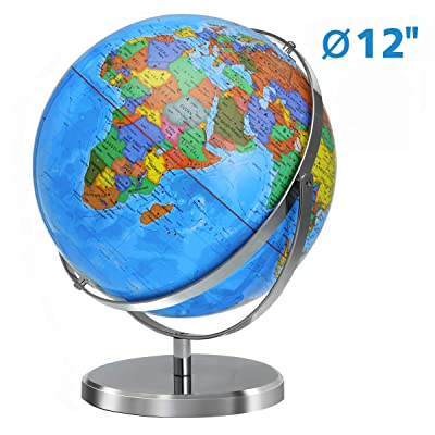 "World Globe for Kids, KingSo 12"" Diameter World Globe 720 Degree Rotation Globe with Heavy Duty Stand Over 4000 Locations Adult Desktop Globes Educational Geography Learning Toy Gift for Children: Office Products"