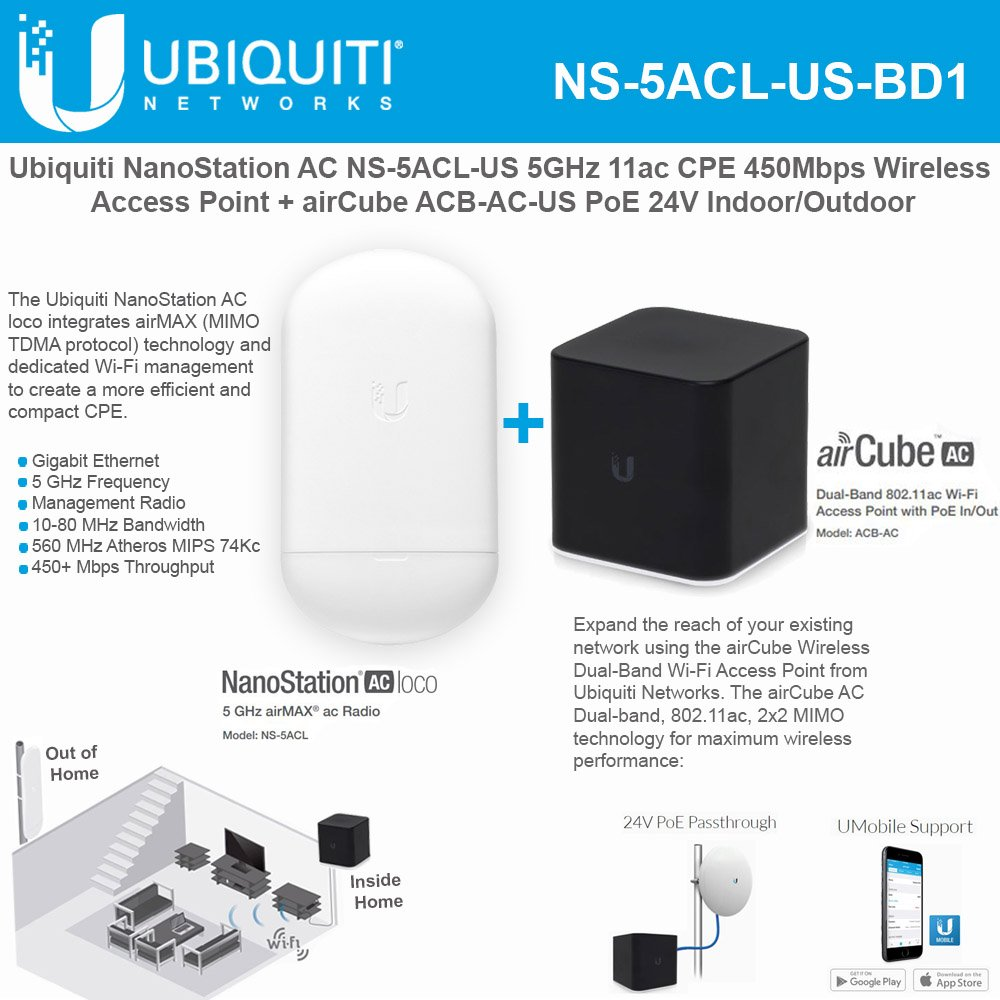 NanoStation AC loco NS-5ACL-US 5GHz 802.11ac airMAX CPE Radio 450Mbps Wireless Access Point with airCube ACB-AC-US airMAX 802.11ac Dual-Band Home Wireless Access Point PoE 24V Indoor by UBNT Networks