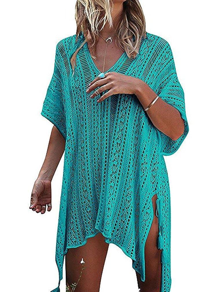 Green LiY Women's Bathing Suit Cover up Beach Bikini Swimsuit Swimwear Crochet Dress