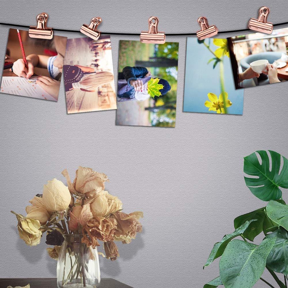 foto parete ufficio e casa morsetti in metallo 22mm immagini YuamMei 15 pezzi clip di carta Bulldog tag clip leganti per documenti oro