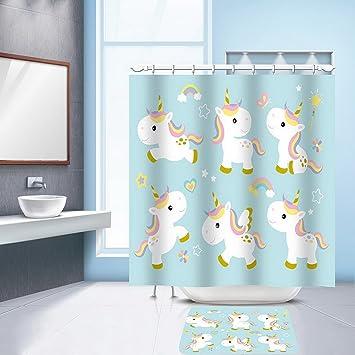 Hoomall Anti Schimmel Wasserdicht Duschvorhang Einhorn Badezimmer Vorhang  Digital Gedruckt Badvorhang Badezimmer Duschvorhang 180x200cm(