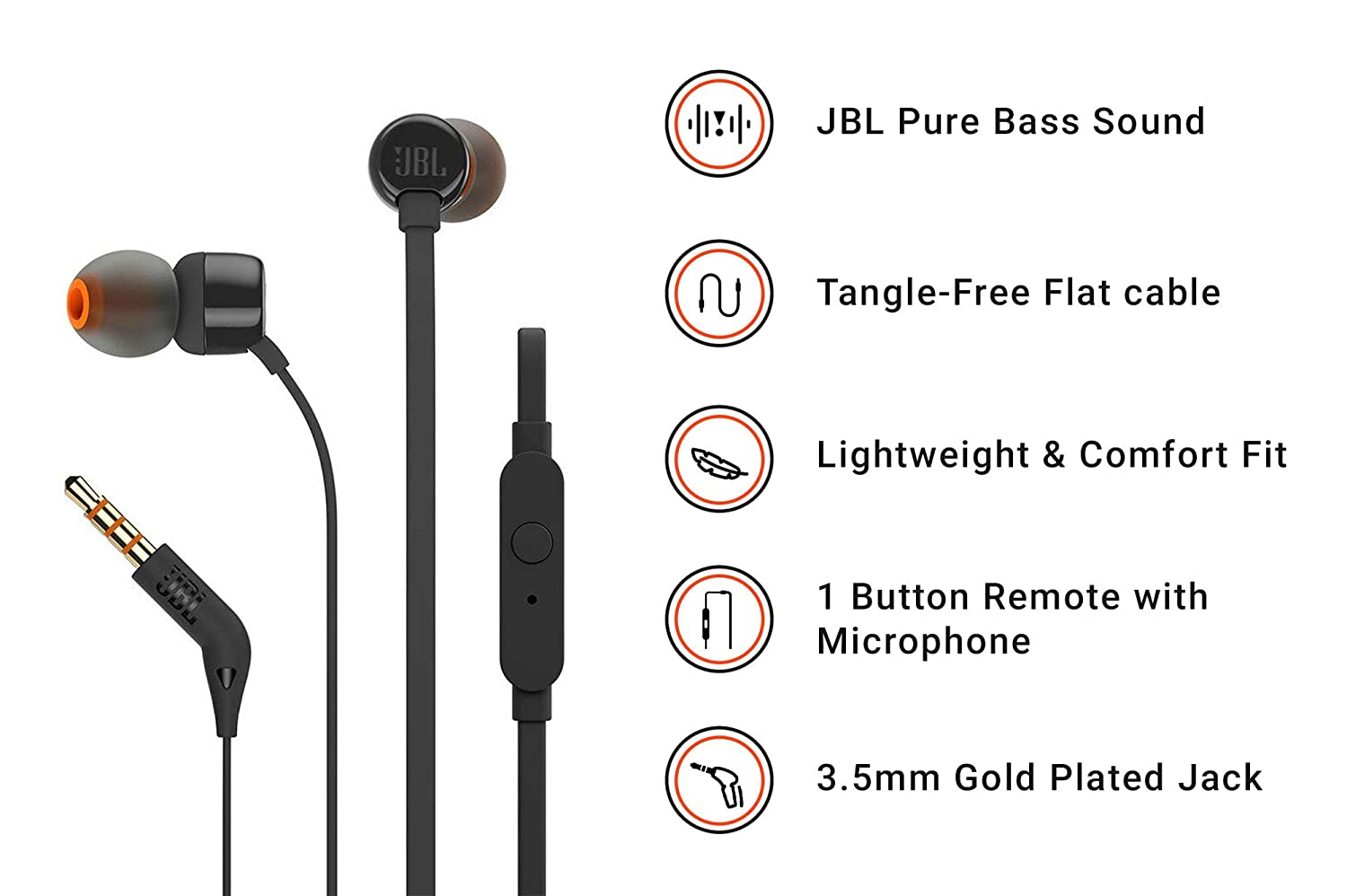 6e06bdd2c31 JBL T160 in-Ear Headphones with Mic (Black): Buy JBL T160 in-Ear Headphones  with Mic (Black) Online at Low Price in India - Amazon.in