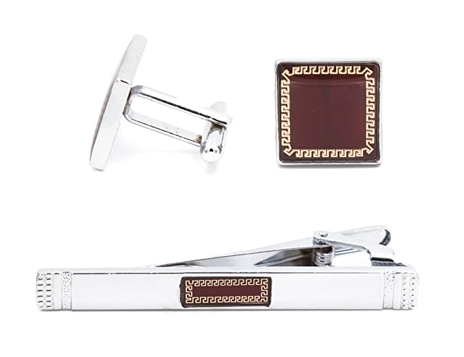 Amazon.com: Mandujour Glenn Chrome and Red Square Cuff-links and Tie Clip Set: Jewelry