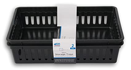 Rectangular Mini Bin Black Storage Trays - 2pk