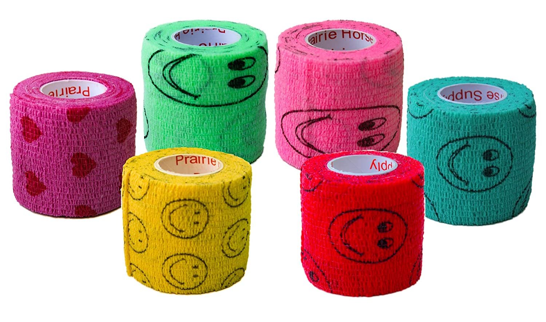 2 Inch Vet Wrap Tape Bulk (Assorted Colors) (6, 12, 18, or 24 Packs) Self-Adhesive Self Adherent Adhering Flex Bandage Rap Grip Roll for Dog Cat Pet Horse 71FTMT1MgzL