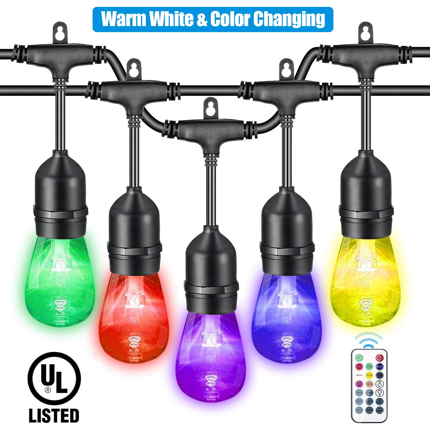VAVOFO 48FT Warm White & Color Changing Outdoor String Lights, Dimmable LED Heavy Duty Hanging Patio String Lights Indoor, Commercial Grade, Waterproof, Wireless, UL LISTED by VAVOFO