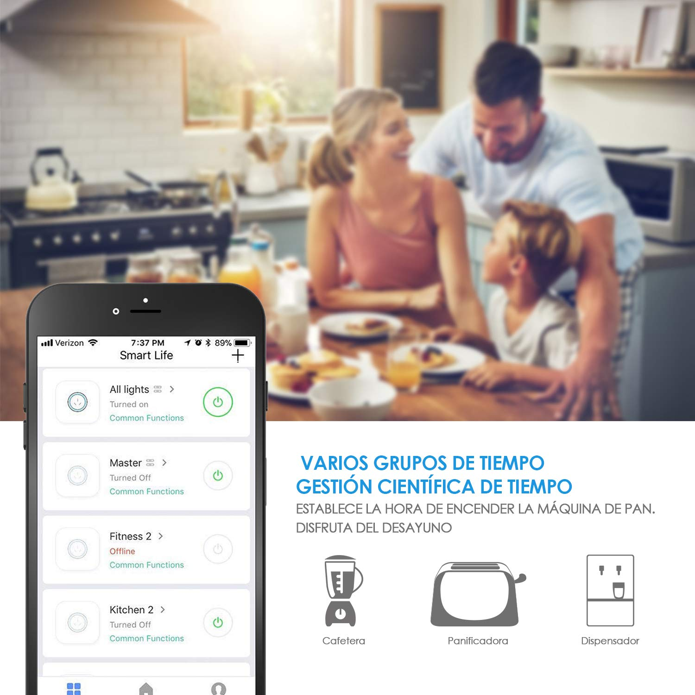 SIMBR Wifi Enchufe Inteligente para Android e IOS Compatible con Amazon Alexa y Google Home e IFTTT Enchufe Ilalámbrico con Control Remoto y en Voz