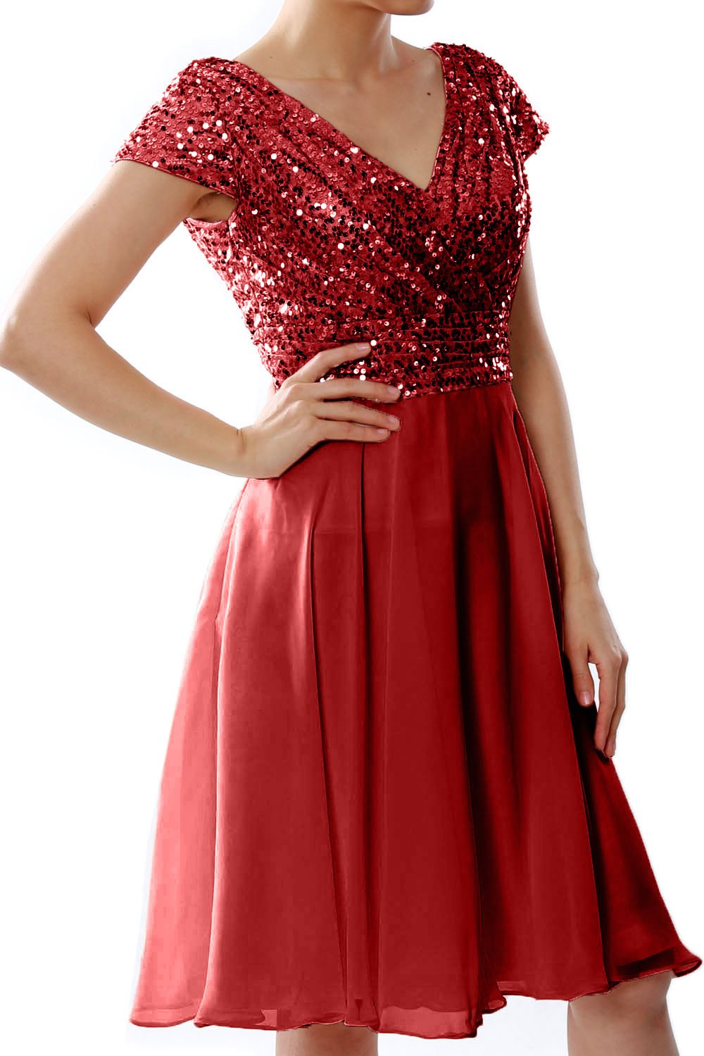 52785541f0e2 MACloth Women Cap Sleeve Wedding Party Formal Gown Sequin Short Bridesmaid  Dress (US26w, Burgundy)