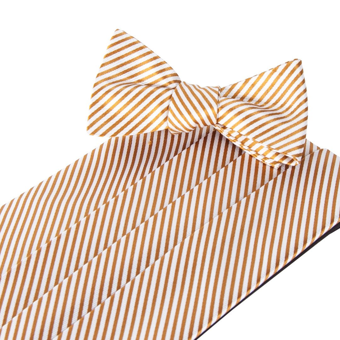 Collared Greens Signature Series Gold Cummerbund and Bow Tie Set by Collared Greens Inc