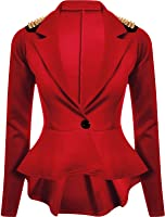 Forever Womens Long Sleeves Plain Spikes Shoulder Peplum Button Blazer
