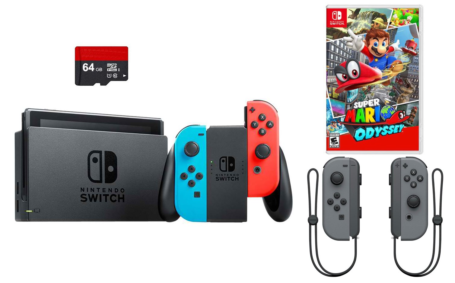 Nintendo Switch 4 items Bundle:Nintendo Switch 32GB Console Red and Blue Joy-con,64GB Micro SD Memory Card and an Extra Pair of Nintendo Joy-Con (L/R) Wireless Controllers Gray, Super Mario Odyssey