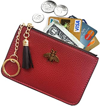 Ladies Small Real Leather Key Ring Women Purse Pouch Coin Holder