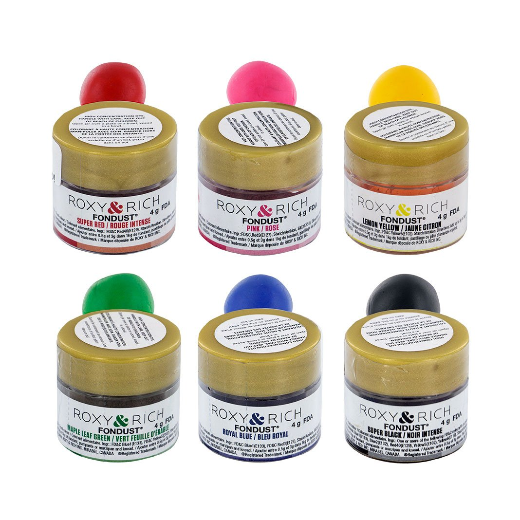 Roxy & Rich Fondust Starter Hybrid Food Color Kit, 6 Colors by Global Sugar Art