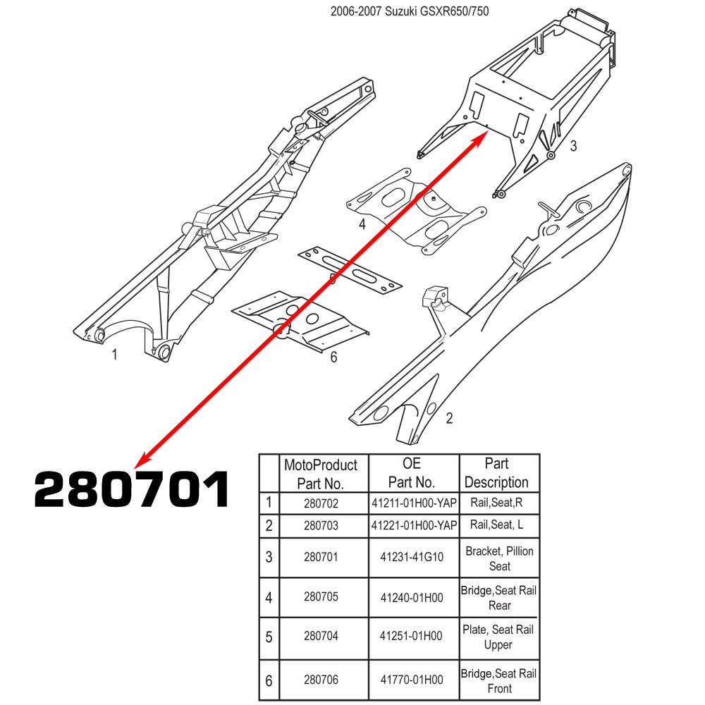 Motoframe New Suzuki Subframe Seat Bracket Oem Part 2006 Gsxr 1000 Taillight Wiring Diagram 41231 41g10 Fits 06 07 600 750 08 Gsxr1000 Automotive