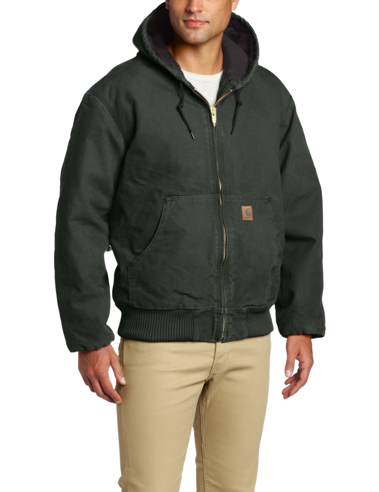 Carhartt Men's Quilted Flannel Lined Sandstone Active Jacket J130,Moss,Large