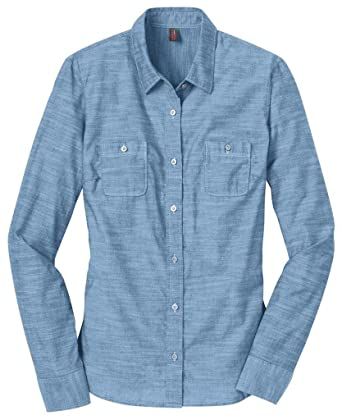 eaa52f17 District Made - Ladies Long Sleeve Washed Woven Shirt>4XL Light Blue DM4800  at Amazon Women's Clothing store: Button Down Shirts