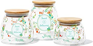 Mii-Home 3-Piece Glass Jars Canisters Set Colorful Flower Food Storage Containers with Airtight Seal Bamboo Lid for Preserving Dry Food, Cereal, Cookies, Coffee and Tea