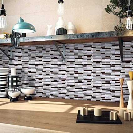 Buy Elevin Tm Home Decor Kitchen 3d Self Adhesive Wall Tiles Clever Tiles Glitter Mosaic Self Adhesive Tiles Standard Multicolor Online At Low Prices In India Amazon In