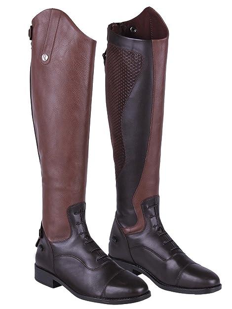 outlet store ebe39 dd0e0 QHP Damen Lederreitstiefel Nina mit Anti-Slip Beschichtung an der  Innenseite Normale Wadenweite