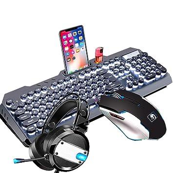 Mingteng Teclado y Mouse de Juegos mecánicos, Auriculares para Juegos de PC con micrófono Combinado, Ratón de Juegos, Teclado de Juegos mecánicos Clave ...
