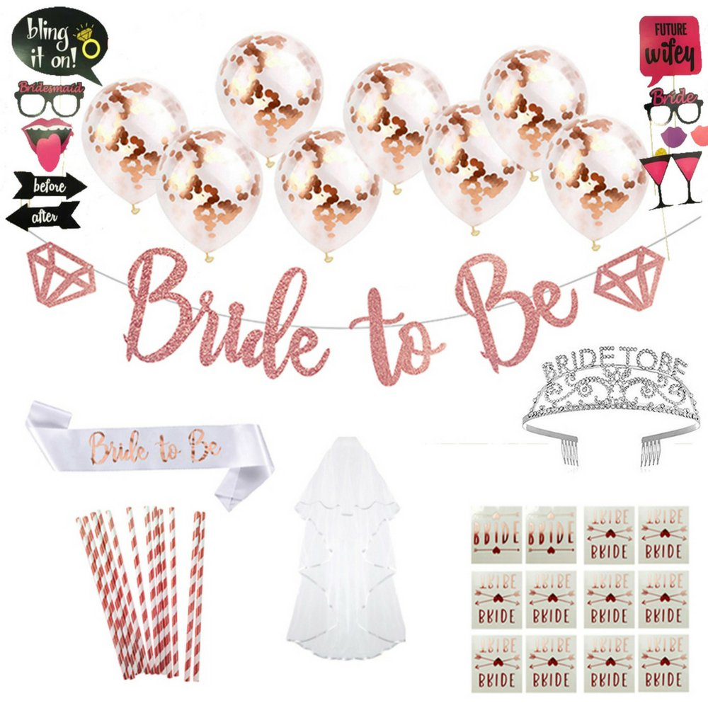 Share your Feelings Bachelorette Party Decorations Kit: Bridal Shower Decoration Set with 'Bride To Be' Satin Sash, Banner, Crown, Veil, Balloons, Photo Props & More Idea for Bridal Shower by by Share your Feelings