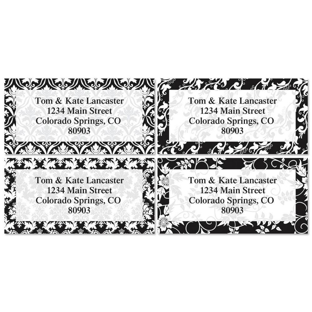 Elegant in black personalized return address labels set of 144 large self adhesive flat sheet labels with border 4 designs by colorful