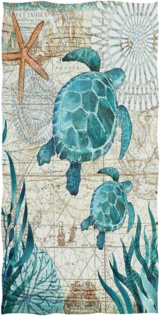 Naanle Vintage Ocean Sea Turtle Starfish Map Soft Highly Absorbent Large Decorative Hand Towels Multipurpose for Bathroom, Hotel, Gym and Spa (16 x 30 Inches)
