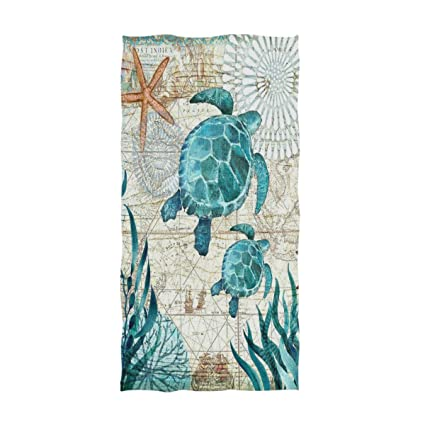 Naanle Vintage Ocean Sea Turtle Starfish Map Soft Highly Absorbent on sea turtles of the world, loggerhead map, squid map, freshwater map, green turtle map, hawksbill turtle map, snapping turtle map, sun map, sea turtles and humans, rhinoceros map, diamondback terrapin map, sea turtles habitat, leatherback turtle map, painted turtle map, seahorse map, octopus map, sea turtles live how long, butterfly map, elephant map, bog turtle range map,