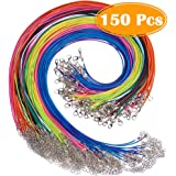 Paxcoo 150PCS 1.5mm Waxed Cotton Necklace Cord Bulk with Clasp for DIY Jewelry Making, Mix Color (18')