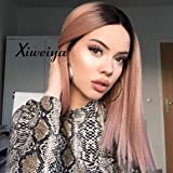 Xiweiya short pink bob Wig with Dark Root short hair cut rose gold pink Wig pink bob Wig Synthetic pink Lace Front Wigs short pink middle part wig short Soft Wig Heat Resistant Fiber 14 Inch