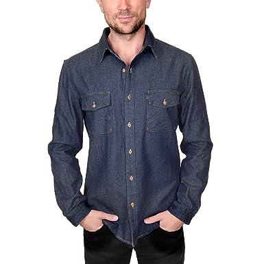 bc904ad386a Prospective Flow Men s Lyon Denim Shirt in Indigo at Amazon Men s ...