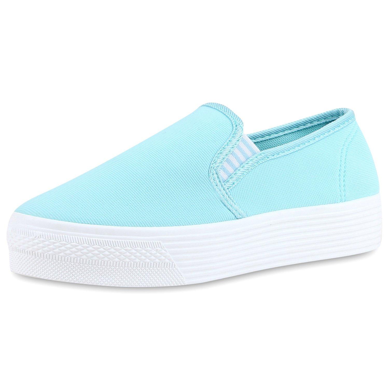Japado Damen Schuhe Plateau Sneaker Slip-Ons Glitzer Metallic Sneakers Slipper Weiss 36 JOKWIe3
