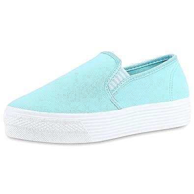 Japado Damen Schuhe Plateau Sneaker Slip-Ons Glitzer Metallic Sneakers Slipper Weiss 37 5Ooj38