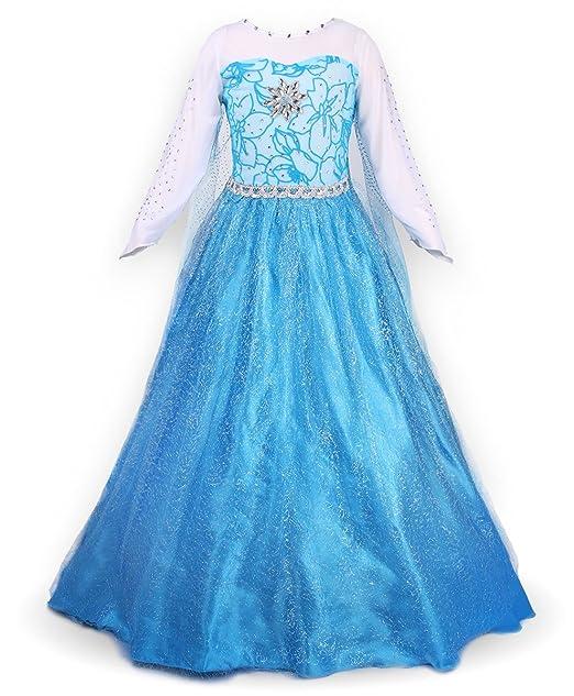 JerrisApparel Fiesta Maxi Vestido de Princesa niña Disfraz Cosplay con Diamante (97-104,