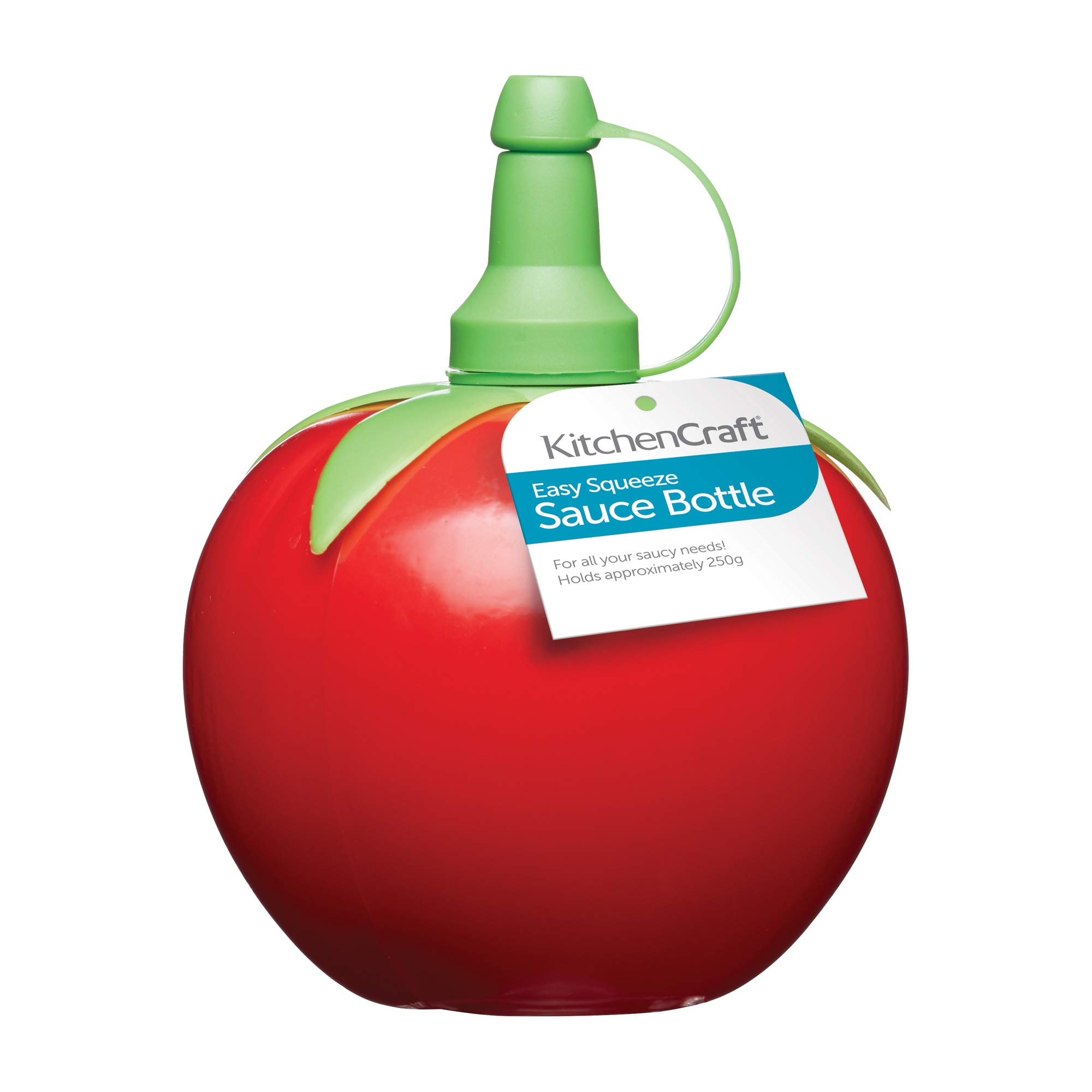 KitchenCraft Squeezy Sauce Bottle with Novelty Tomato Design, Red / Green, 250 ml